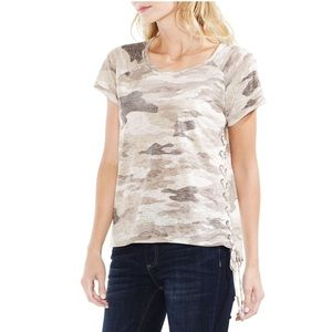 vince camuto camo lace up top